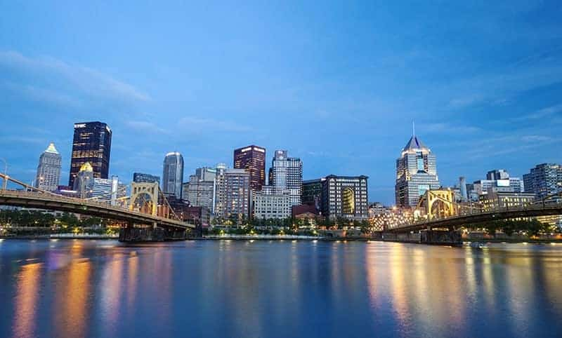 Downtown Pittsburgh at night